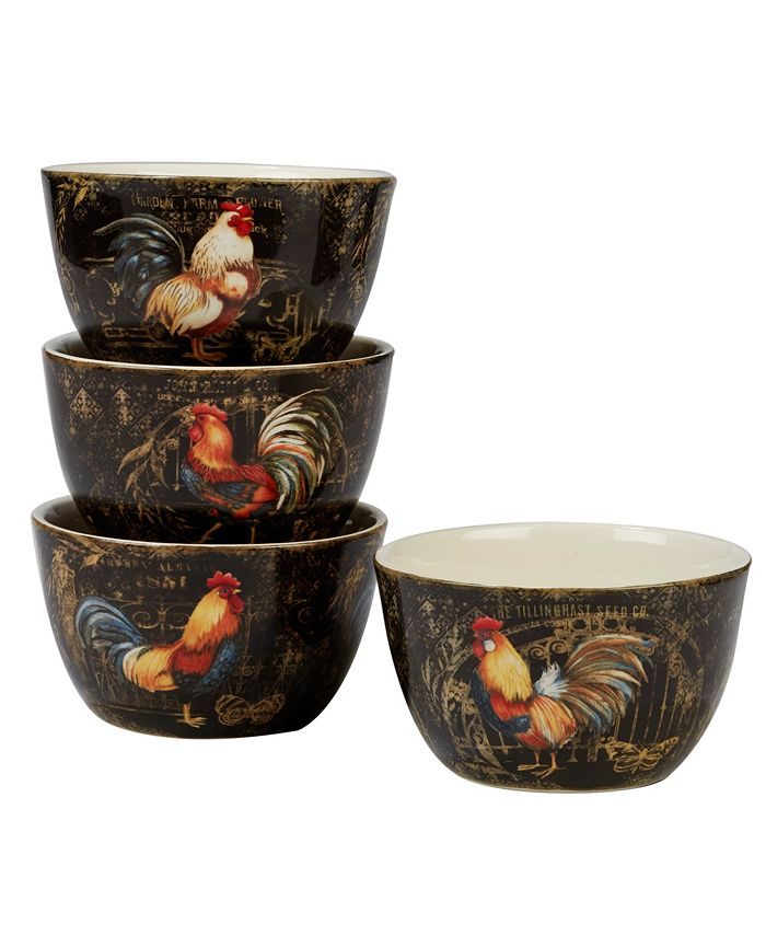 Certified International - Gilded Rooster 4-Pc. Ice Cream Bowl