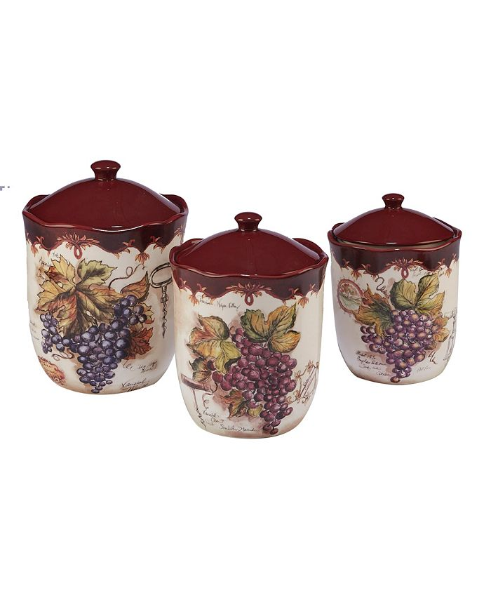 Certified International - Vintners Journal 3-Pc. Canister Set