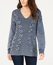 INC Mixed-Stitch Hoodie Sweater, Created for Macy's