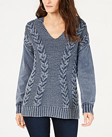 I.N.C. Mixed-Stitch Hoodie Sweater, Created for Macy's