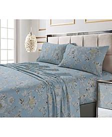 Colmar Printed 300 Thread Count Cotton Sateen Extra Deep Pocket Sheet Set Queen Sheet Set