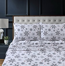 Let it Snow Heavyweight Cotton Flannel Printed Extra Deep Pocket King Sheet Set
