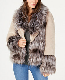 I.N.C. Mixed-Materials Faux-Fur Jacket, Created for Macy's