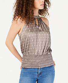 I.N.C. Printed Sleeveless Halter Top, Created for Macy's