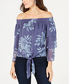 I.N.C. Petite Printed Off-The-Shoulder Tiered-Sleeve Blouse, Created for Macy's