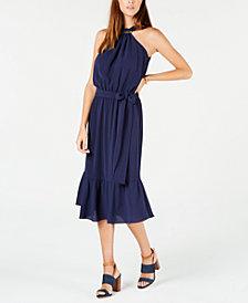 MICHAEL Michael Kors Logo-Bar Blouson Halter Dress