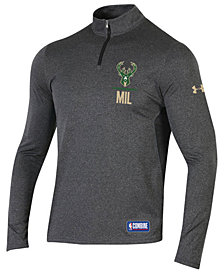 Under Armour Men's Milwaukee Bucks Combine Authentic Season Quarter-Zip Pullover