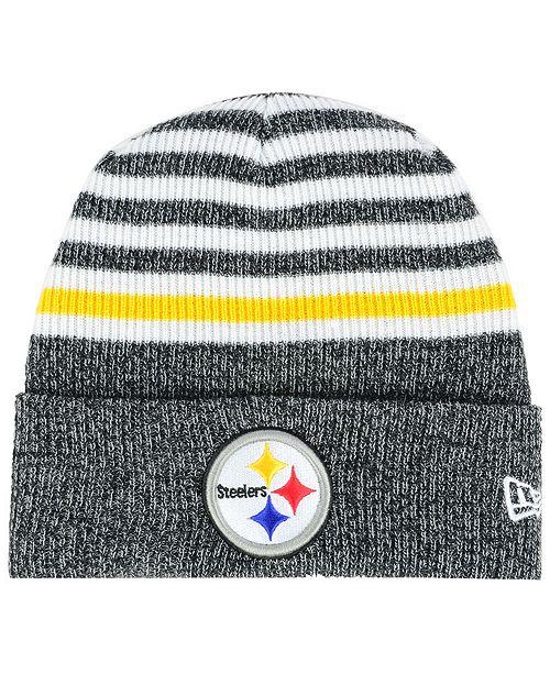 d9f2b1604 New Era Pittsburgh Steelers Striped2 Cuff Knit Hat - Sports Fan Shop ...