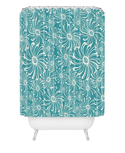 Heather Dutton Bursting Bloom Peacock Shower Curtain