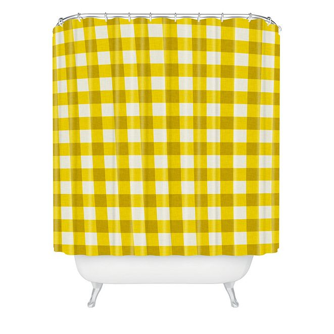 Deny Designs Holli Zollinger Yellow Gingham Shower Curtain