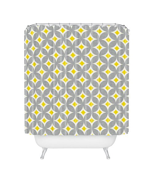 Deny Designs Holli Zollinger Diamond Circles Yellow Shower Curtain