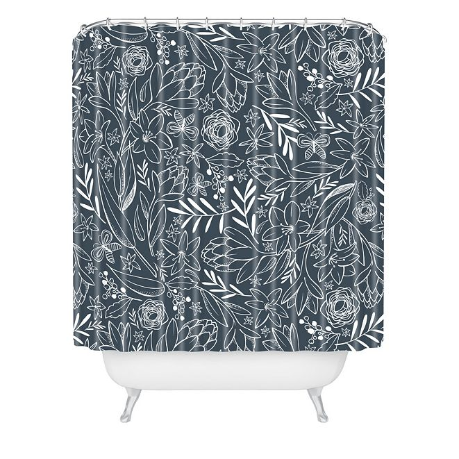 Deny Designs Heather Dutton Botanical Sketchbook Midnight Shower Curtain