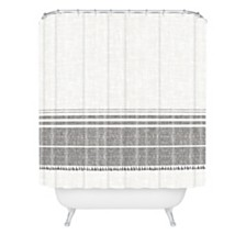 Deny Designs Holli Zollinger French Linen Charcoal Tassel Shower Curtain