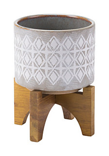 Planter With Wooden Base Sm Gry & Wht