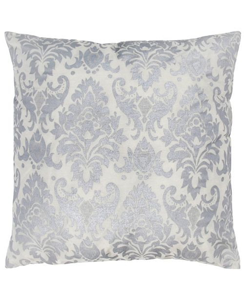 "Rizzy Home 18"" x 18"" Damask Poly Filled Pillow"