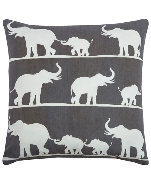 """Rizzy Home 20"""" x 20"""" Elephant Poly Filled Pillow"""