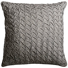 "Rizzy Home Solid Gray 22"" X 22"" Textured Poly Filled Pillow"