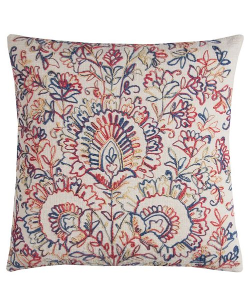 "Rizzy Home 20"" x 20"" Textured Floral Medallions Pillow Collection"