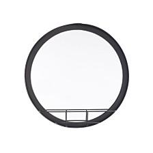 Round Mirror Shelf Sm Antique Black
