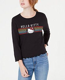 Love Tribe Juniors' Hello Kitty Lettuce-Edge Graphic T-Shirt