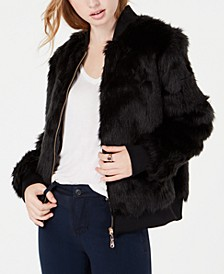 Juniors' Faux-Fur Bomber Jacket
