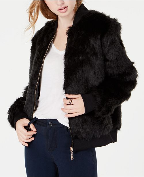 dff7032ceb2 Say What? Juniors' Faux-Fur Bomber Jacket & Reviews - Jackets ...