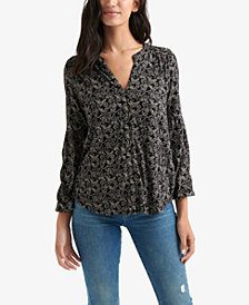 Lucky Brand Printed Split-Neck Shirt
