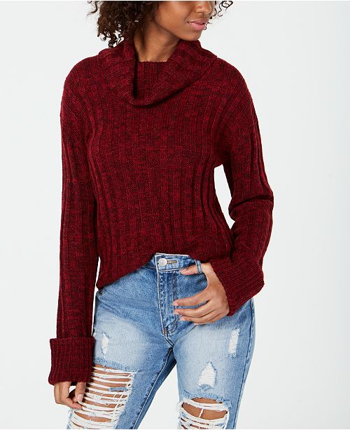 a664d292e Hooked Up by IOT Juniors' Marled Cowl-Neck Sweater & Reviews ...