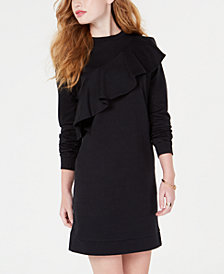 Material Girl Juniors' Ruffled Sweatshirt Dress, Created for Macy's