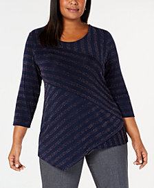 JM Collection Plus Size Asymmetrical Striped Shine Tunic, Created for Macy's