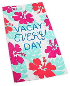"CLOSEOUT! Martha Stewart Collection Vacay Everyday 38"" x 68"" Beach Towel, Created for Macy's"