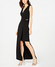 Connected Asymmetrical Faux-Wrap Gown