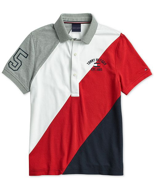 46f0306c575 Tommy Hilfiger Men's Stripe Polo with Magnetic Buttons & Reviews ...