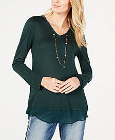I.N.C. Sheer-Trim T-Shirt, Created for Macy's