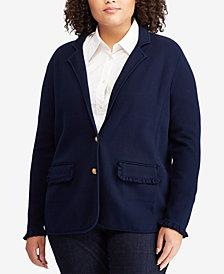 Lauren Ralph Lauren Plus Size Ruffled-Trim Blazer