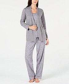 Charter Club Plus Size 3-Pc. Cotton Knit Pajama Set, Created for Macy's