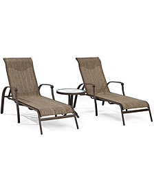 Oasis Outdoor Aluminum 3-Pc. Chaise Set (2 Chaise Lounges and 1 End Table), Created for Macy's