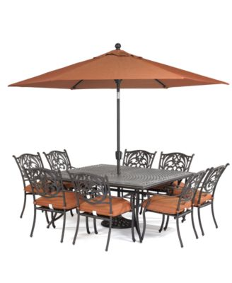 Chateau Outdoor Cast Aluminum 9Pc Dining Set 64 Square Dining