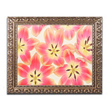 Cora Niele 'Yellow and Coral Red Tulips' Ornate Framed Art