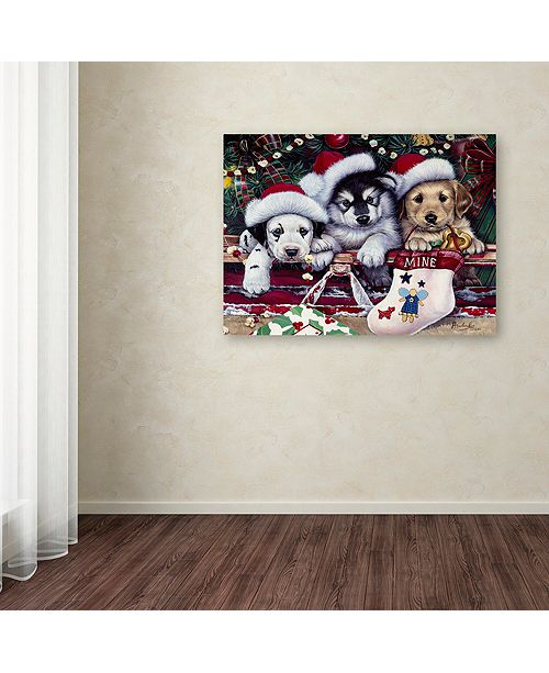 "Trademark Global Jenny Newland 'A Tail Wagging Christmas' Canvas Art, 18"" x 24"""