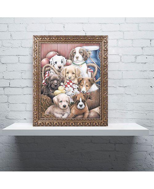 "Trademark Global Jenny Newland 'Puppy Pals' Ornate Framed Art, 16"" x 20"""