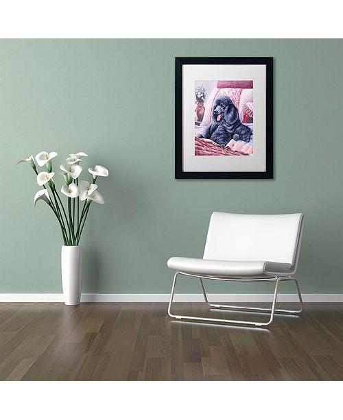 """Trademark Global Jenny Newland 'Black Poodle' Matted Framed Art, 16"""" x 20"""""""