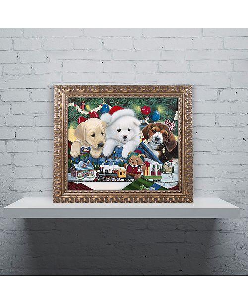 "Trademark Global Jenny Newland 'Curious Christmas Pups' Ornate Framed Art, 11"" x 14"""