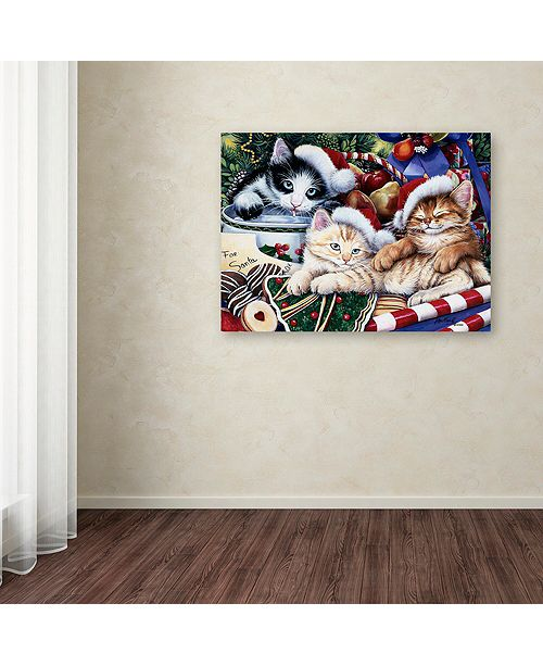 "Trademark Global Jenny Newland 'Meowy Christmas 2' Canvas Art, 18"" x 24"""