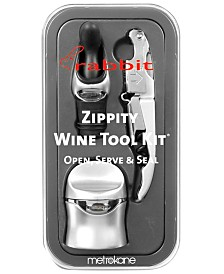 Rabbit Barware, Silver 3 Piece Zippity Wine Tool Kit
