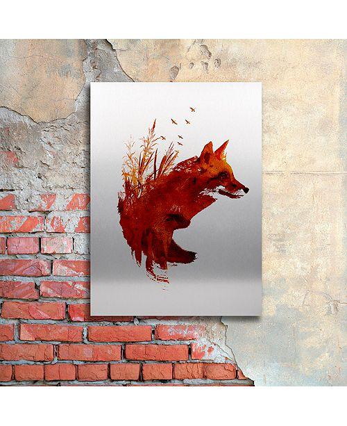 "Trademark Global Robert Farkas 'Plattensee Fox' Floating Brushed Aluminum Art, 16"" x 22"""