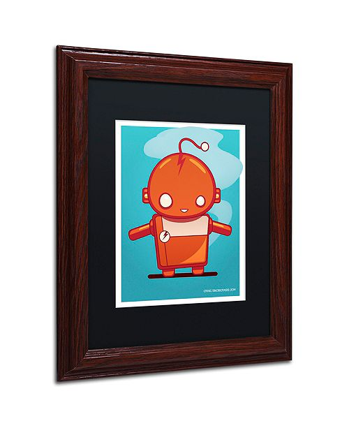 "Trademark Global Craig Snodgrass 'Retro Robot Orange' Matted Framed Art, 11"" x 14"""