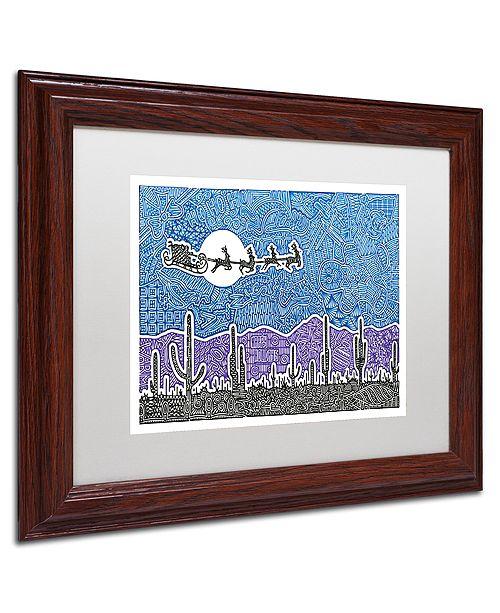 "Trademark Global Viz Art Ink 'Cactus Christmas' Matted Framed Art, 11"" x 14"""