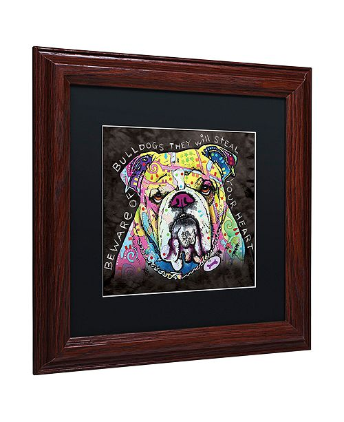 """Trademark Global Dean Russo 'Bulldog Heart' Matted Framed Art, 11"""" x 11"""""""