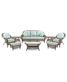 Sandy Cove Outdoor Wicker 8-Pc. Seating Set (1 Sofa, 2 Club Chairs, 2 Ottomans, 1 Coffee Table and 2 End Tables), Created for Macy's